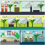 Vector set of bank interior concept design elements, flat style Stock Image
