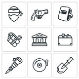 Vector Set of Bank Robbery Icons. Thief, Weapon, Welder, Explosive, Bank, Treasure, Equipment, Security System. Robber, Gun, Mask, Dynamite Building Chest Royalty Free Stock Photo