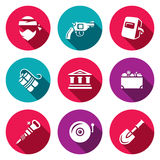 Vector Set of Bank Robbery Icons. Thief, Weapon, Welder, Explosive, Bank, Treasure, Equipment, Security System Stock Images