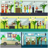 Vector set of banking concept design elements in flat style Royalty Free Stock Photo