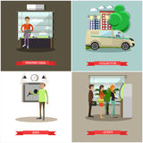 Vector set of banking concept design elements in flat style Royalty Free Stock Photography