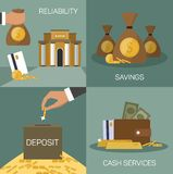 Vector set of banking concepts in flat style Royalty Free Stock Photos