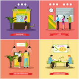 Vector set of banking, finance concept illustrations in flat style. Vector set of banners, posters with cashbox, ATM, consultant, self-service terminal. Banking Stock Photo