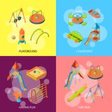 Vector isometric playground objects concept illustration stock illustration