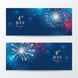 Vector set of banners for American Independence day celebration with tricolor fireworks. Festive background for greeting cards and flyers for July 4th. File Royalty Free Stock Image
