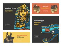 Vector set of banners with Ancient Egypt symbols royalty free illustration