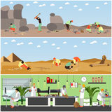 Vector set of banners with archaeological excavation and laboratory concept. Vector set of posters, banners with archaeologists at work, tools and equipment stock illustration