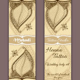 Vector set of banners or cards in indian ornamental style. Mehndi floral ornament Royalty Free Stock Photo