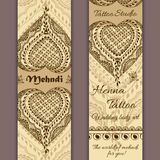 Vector set of banners or cards in indian ornamental style. Mehndi floral ornament Stock Image
