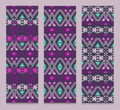 Vector set of banners or cards with tribal decorative patterns. Aztec ornamental style Stock Image