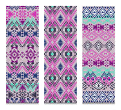 Vector set of banners or cards with tribal decorative patterns. Aztec ornamental style Royalty Free Stock Photo