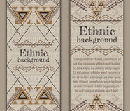Vector set of banners or cards with tribal decorative patterns. Aztec ornamental style Royalty Free Stock Photos