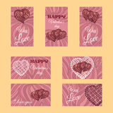 Vector set of banners or cards. Valentine's day theme Stock Photography