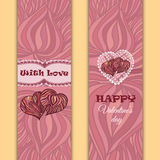 Vector set of banners or cards. Valentine's day theme Stock Image