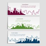 Vector set of banners with city silhouettes,flat linear style. Cover template for architectural design vector illustration