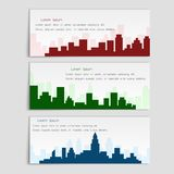 Vector set of banners with city silhouettes,flat style. Cover template for architectural design royalty free illustration