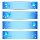 Set banners with clean water bubbles on a blue background. Vector set banners with clean water bubbles on a blue background Stock Photography