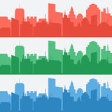 Vector set of banners with colored city silhouettes. Vector elements for architectural design vector illustration