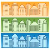 Vector set of banners with colored linear city silhouettes. Vector elements for architectural design Stock Images