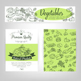 Vector  set banners with  draw vegetables Royalty Free Stock Photo