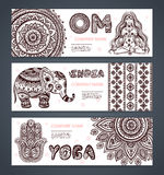 Vector set of banners with ethnic and yoga symbols Stock Photo