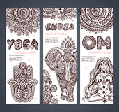 Vector set of banners with ethnic and yoga symbols vector illustration