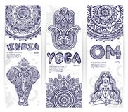 Vector set of banners with ethnic and yoga symbols Royalty Free Stock Image