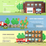 Vector set of banners with fire fighting concept design elements. Vector set of Fire department, Save the forest, Fire brigade horizontal banners. Fire fighting Royalty Free Stock Images