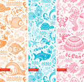 Vector set of banners with fish and shells Royalty Free Stock Photo