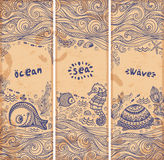 Vector set of banners with fish and shells stock illustration