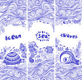 Vector set of banners with fish and shells. For your business Stock Photos