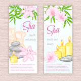 Vector set of banners with hand drawn spa and massage accessories - stones, flowers Royalty Free Stock Photo