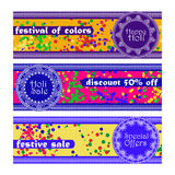 Vector set of banners for Holi festival. Happy Holi, Holi sale. Design for celebration Royalty Free Stock Image