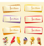Vector set of banners with ice cream Royalty Free Stock Photo