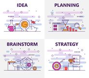 Vector modern thin line flat design startup concept banners. Vector set of banners with Idea, Planning, Brainstorm, Strategy concept web templates. Modern thin Royalty Free Stock Images
