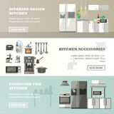 Vector set of banners with kitchen interior, accessories and furniture Stock Photos