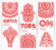 Vector set of banners with  Mandalas and yoga Royalty Free Stock Photography