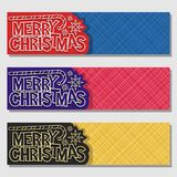 Vector set banners for Merry Christmas. Holiday, original handwritten calligraphy font for text merry christmas, 3 web headers with christmas decoration on Stock Images