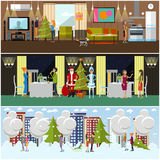 Vector set of banners with New Years celebration design elements Stock Photos