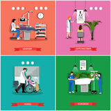 Vector set of banners, posters with people in hospital, clinic Stock Image