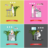 Vector set of banners, posters with scientific research laboratories Royalty Free Stock Images
