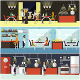 Vector set of banners with restaurant interiors. People having lunch in cafe. Kitchen, dining. Room and cafe Stock Images