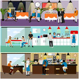 Vector set of banners with restaurant interiors. People having lunch in cafe. Royalty Free Stock Image