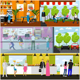Vector set of banners with restaurant interiors. Smorgasbord party. Fast food restaurant, street cafe in flat style Stock Image