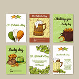 Vector set of banners for St. Patrick's Day. Illustration with hand drawn sketch. Stock Photography