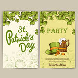 Vector set of banners for St. Patrick's Day. Illustration with hand drawn sketch. Royalty Free Stock Images
