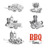 Vector set of barbecue and grill elements Stock Photos