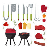 Vector set of barbecue and grill elements outdoors cooking dinner. Stock Photos