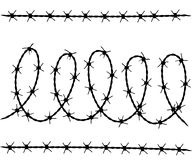 Vector set of barbed wire silhouettes Royalty Free Stock Photography