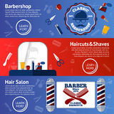 Vector set of Barber banners with grooming accessories - comb, razor, scissor, grease, poles etc Royalty Free Stock Images